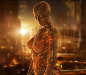 Cyborg woman character with transparent skin