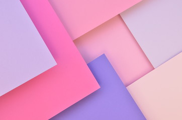 Flat lay geometric paper background. Square pastel tone pink and violet layers with shadows