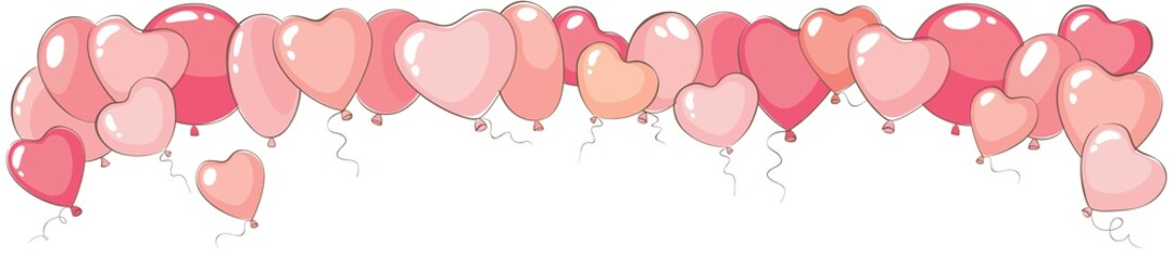 Valentine's day narrow background. Vector banner for holidays with heart shaped balloons