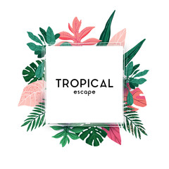Hand-drawn green summer tropical background with palm leaves and exotic plants. Vector floral background. - fototapety na wymiar