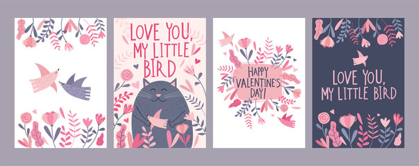 Set of Valentine's Day card with cute cartoon cat, flowers, birds and  freestyle hand drawn lettering
