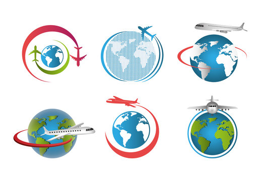 set of airplanes flying around the world vector illustration design