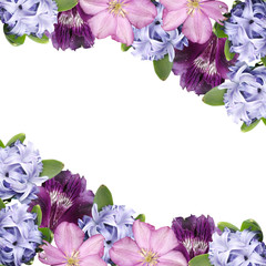 Wall Mural - Beautiful floral background of clematis, hyacinth and alstroemeria. Isolated