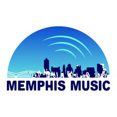 Garden Poster Retro sign Memphis City Music Logo template - VECTOR