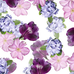 Fototapete - Beautiful floral background of hyacinth, clematis and alstroemeria. Isolated