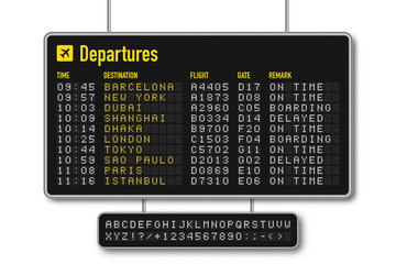 Departure and arrival board, airline scoreboard with digital led letters. Flight information display system in airport. Airport style alphabet with numbers Wall mural