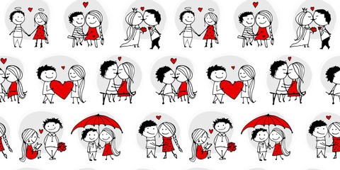 Couple in love kissing, valentine seamless pattern for your design