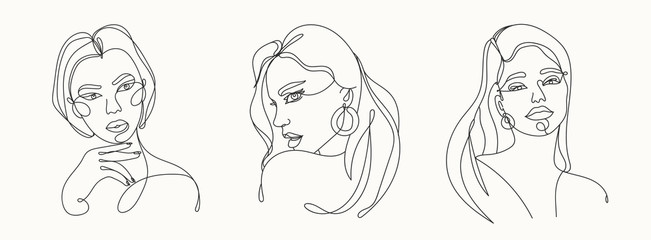 Wall Mural - Set of three Modern abstract faces. Contemporary outline female silhouettes. Hand drawn outline trendy vector illustrations. Continuous line, minimalistic concept