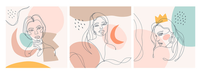 Set of three Modern abstract faces. Contemporary outline female silhouettes. Colored spots. Hand drawn outline trendy vector illustrations. Continuous line, minimalistic concept. Pastel colors Fototapete