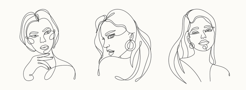 Set of three Modern abstract faces. Contemporary outline female silhouettes. Hand drawn outline trendy vector illustrations. Continuous line, minimalistic concept