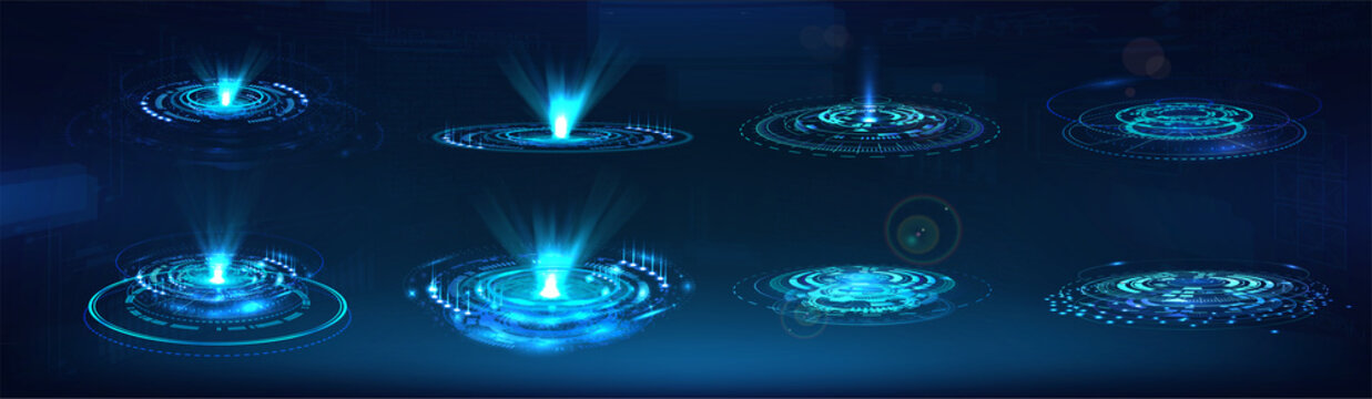 HUD GUI holograms and futuristic elements. Vector set digital technology UI. Circle Sci-fi elements with light and lights. Concept Futuristic User Interface for graphic motion. Vector