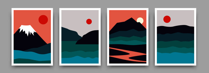 Landscape mountain background poster design. Vector geometric template with mountains, river sea in sunset backdrop. Illustration in trendy asian japanese style
