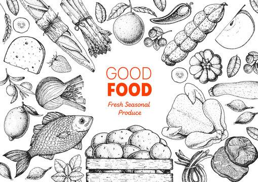 Organic food illustration. Farmers market design elements. Hand drawn sketch. Various food frame. Good food store concept.
