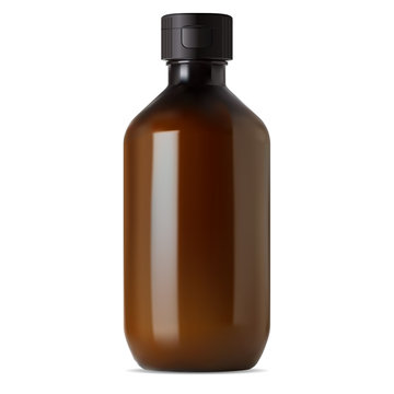 Brown glass pharmacy bottle. Medical syrup vial. Liquid drug realistic amber container with screw cap. Translucent medicine flacon for cure. 3d design without label and logo. Cosmetic blank