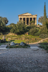 Temple of Hephaestus (Hephaisteion) - well-preserved Greek temple. Temple of Hephaestus is Doric peripheral temple; located at north-west side of Athens Agora on top of Agoraios Kolonos hill. Greece.