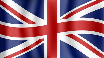 Vector background with England flag, United Kingdom flag rippled in the wind