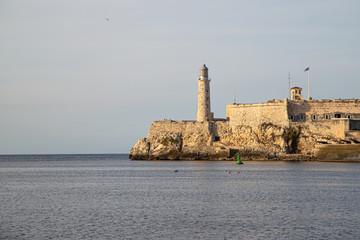 Castillo De Los Tres Reyes Del Morro. Malecon in Havana city, Cuba