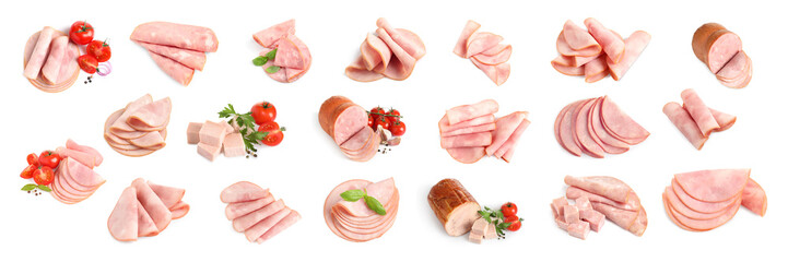 Set of tasty hams on white background