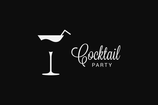 Cocktail fresh glass logo on black background