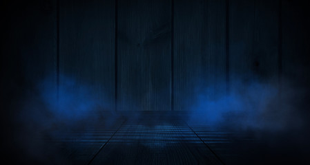 Wood texture in blue classic color. Dark wood, wooden dark background. Dark room with wooden walls.