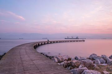 Sekapark, Izmit, Kocaeli. Beautiful natural park on seacoast. Sunset sea view in Turkey.