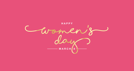 Happy Women's Day handwritten typography lettering gold white pink background banner