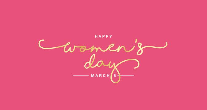 Happy Women's Day handwritten typography lettering gold white pink background banner