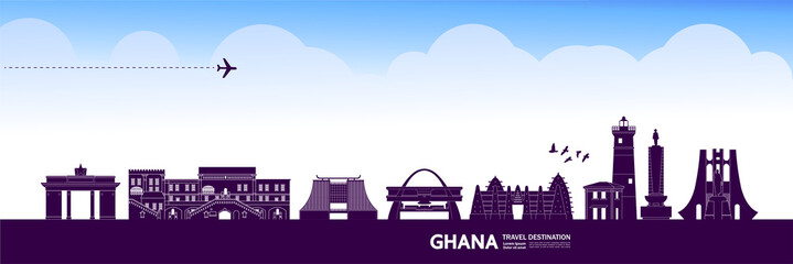 Fotomurales - Ghana travel destination grand vector illustration.