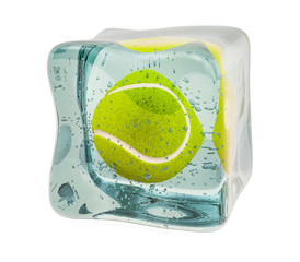 Tennis ball frozen in ice cube, 3D rendering