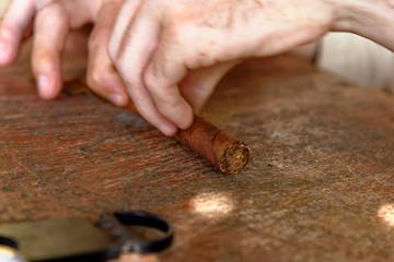 Making a cuban cigar in Viniales - Cuba
