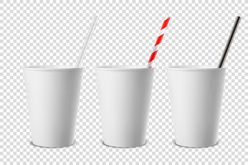 Vector 3d Realistic White Disposable Opened Blank Paper, Plastic Coffee, Tea Cup for Drinks with Straw Icon Set Closeup Isolated on Transparent Background. Design Template, Mockup. Top and Front View