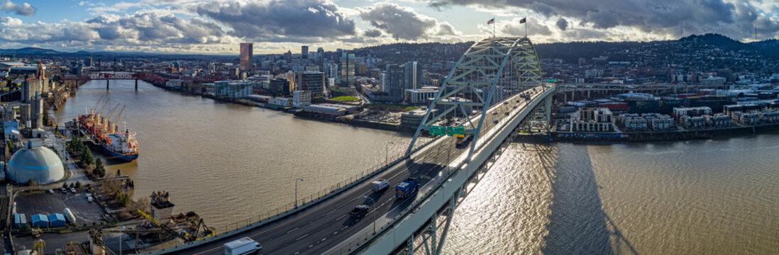 Fremont Bridge Crossing the Willamette River in Portland Oregon
