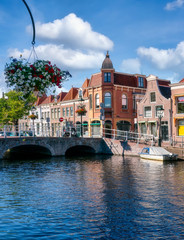 Historic old town of Alkmaar, North Holland, with typical canal houses and bridge