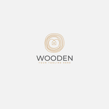 minimalist wooden home logo, home and wood logo