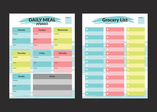 Menu meal planner and grocery shopping list weekly template for print in pastel colorful style