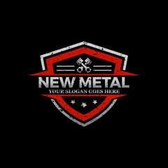 Repair Car logo image, rustic metal logo shield