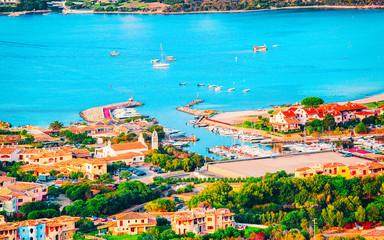 La pose en embrasure Piscine Landscape and scenery of Golfo Aranci at Costa Smeralda, Sardegna island in Italy in summer. Sassari province near Olbia and Cagliari. In Mediteranean sea. Yachts, boats and ships. Mixed media.