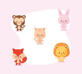 Cute monkey rabbit cat lion and fox cartoon vector design