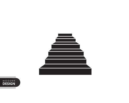 building stairs black solid icon with modern design, isolated on white background. flat style for graphic design template. suitable for logo, web, UI, mobile app. vector illustration