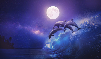 Poster Violet Night ocean with three playful dolphins leaping from sea on surfing wave and full moon shining on tropical background