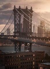 New York bridge view during sunset
