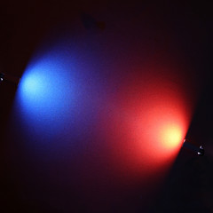 Combination of round light red and blue lights