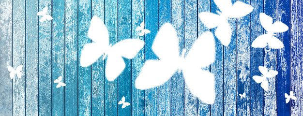 Fotorolgordijn Vlinders in Grunge Butterflies on old wood background