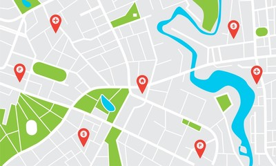 City map with pins. Town streets and avenues, parks and squares, rivers and ponds. Urban gps navigation with pointers. Geo locating concept