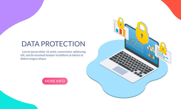 Data protection concept with laptop computer and padlock. Security and Internet privacy isometric design template. Vector illustration.