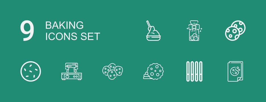 Editable 9 baking icons for web and mobile