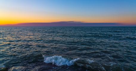 Skyline over blue calm sea
