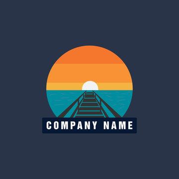 Sun Beach Pier Sunset logo design