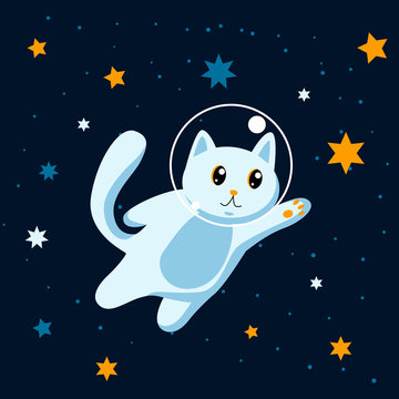 Cat astronaut among stars in space