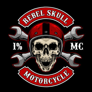 vector of biker skull with vintage helmet and tools, suitable for motorcycle club logo